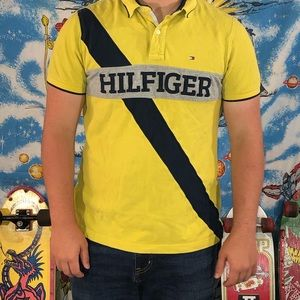 Hilfiger Spell Out Yellow polo shirt Large